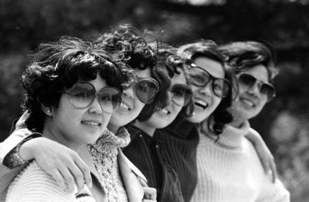 File photo of women wearing sunglasses in Beijing